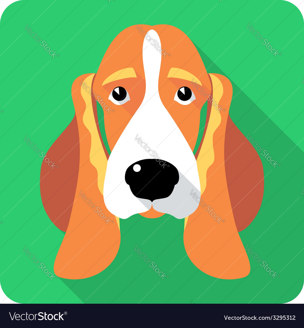 Dog Basset Hound icon flat design