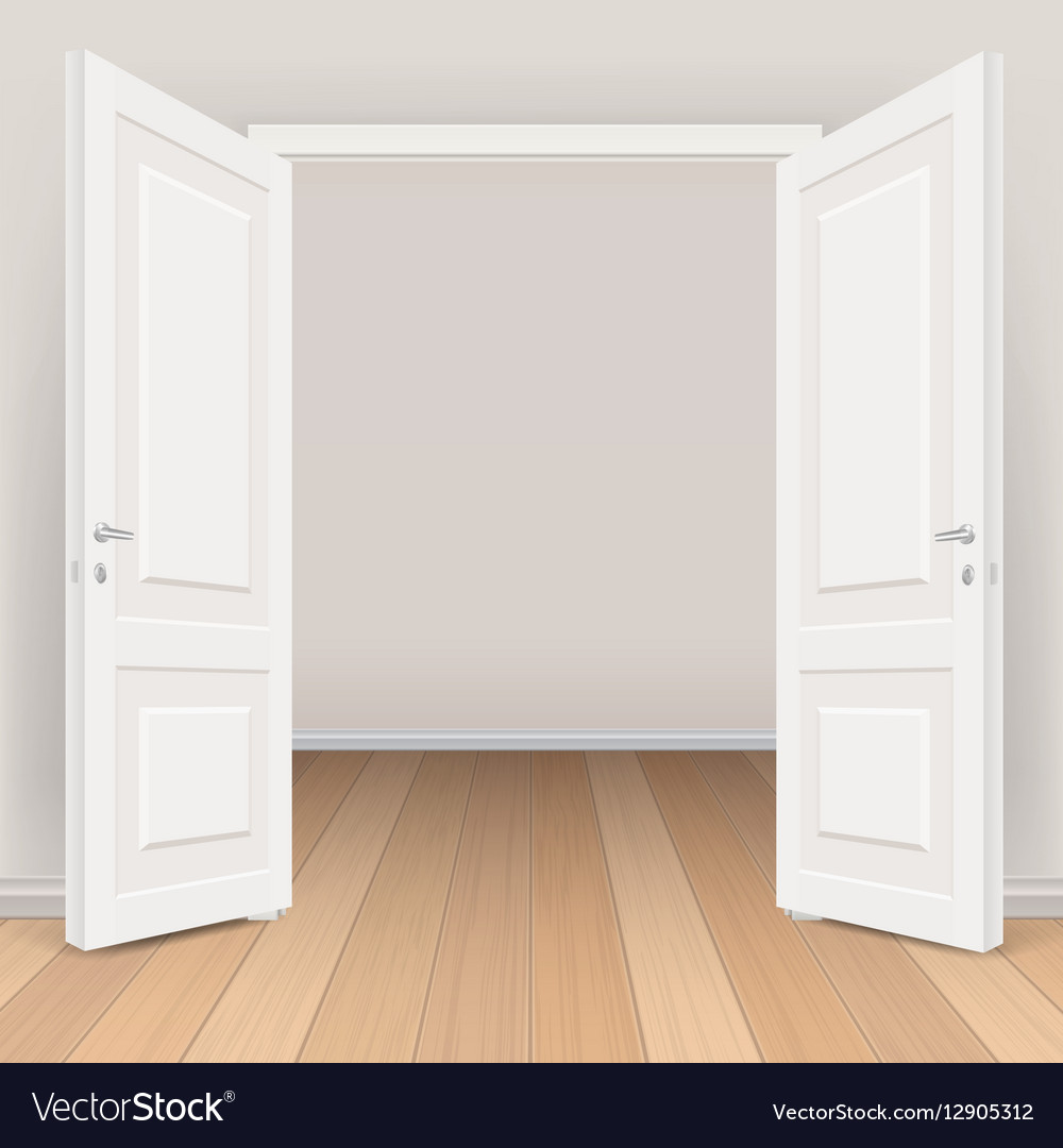 Double white open door in living room Royalty Free Vector