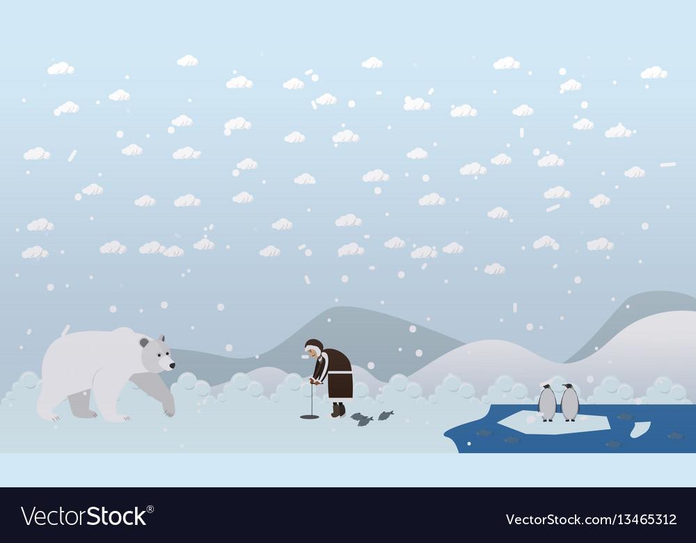 Eskimo and polar bear in