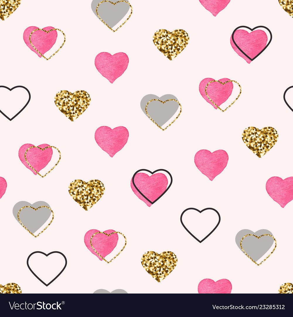 Glitter gold and watercolor pink hearts seamless
