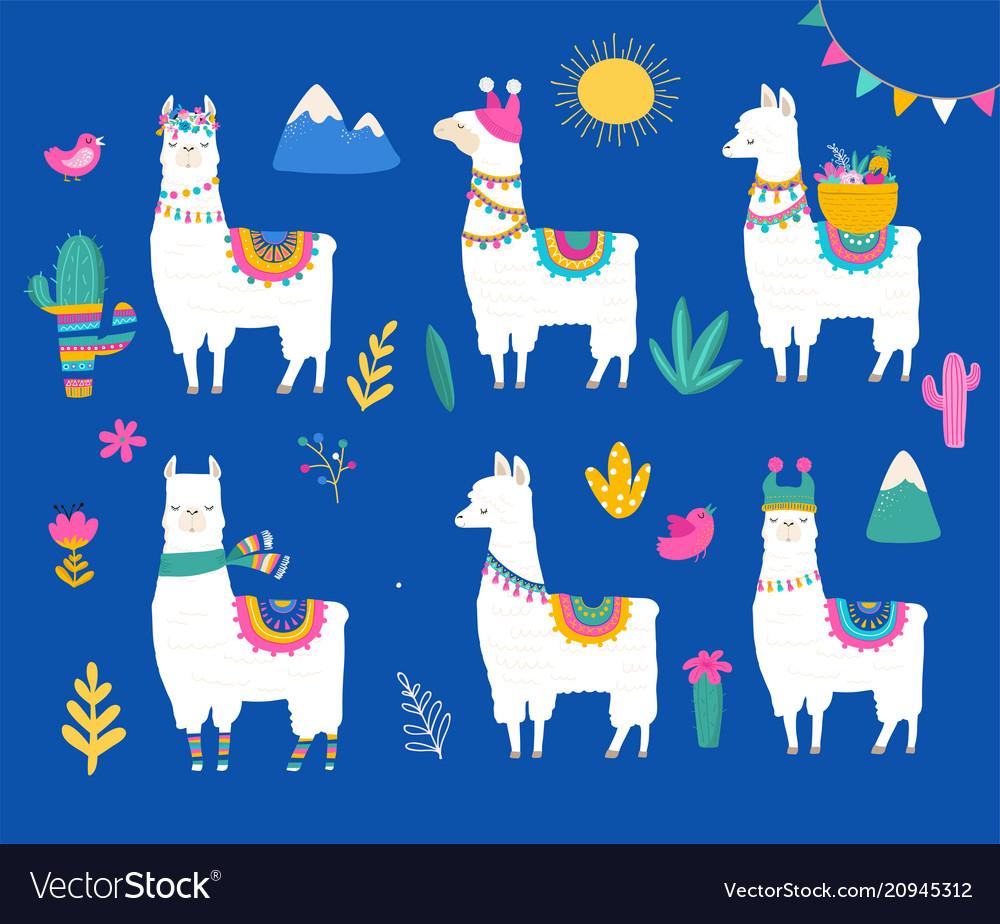 Llama collection cute hand drawn