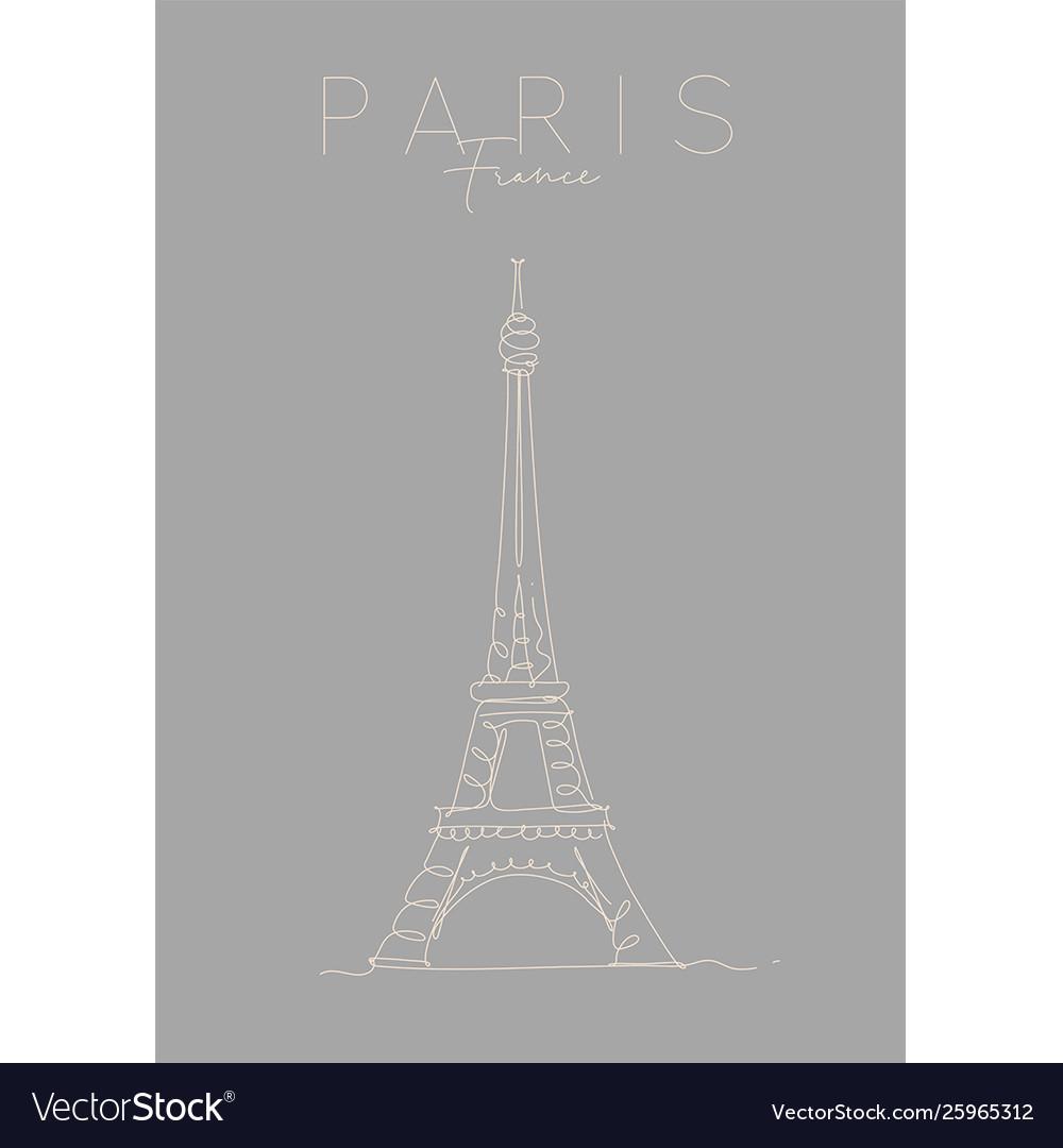 Poster Paris Eiffel Tower Grey Royalty Free Vector Image