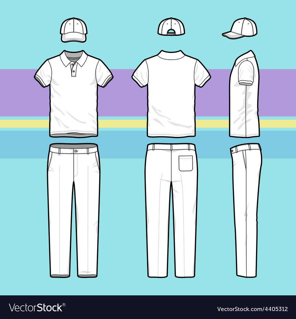 Simple outline drawing of a polo shirt pants and