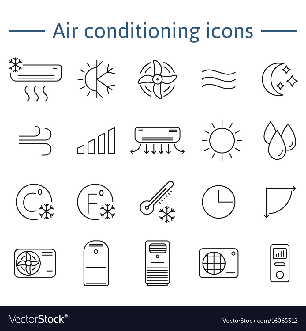 Simple set of air conditioning icons for