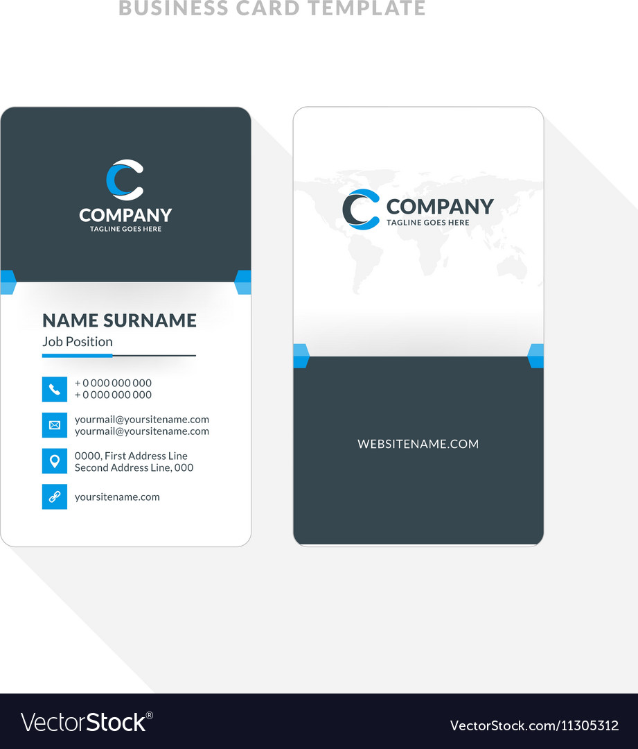 Vertical double sided business card template blue vector image fbccfo