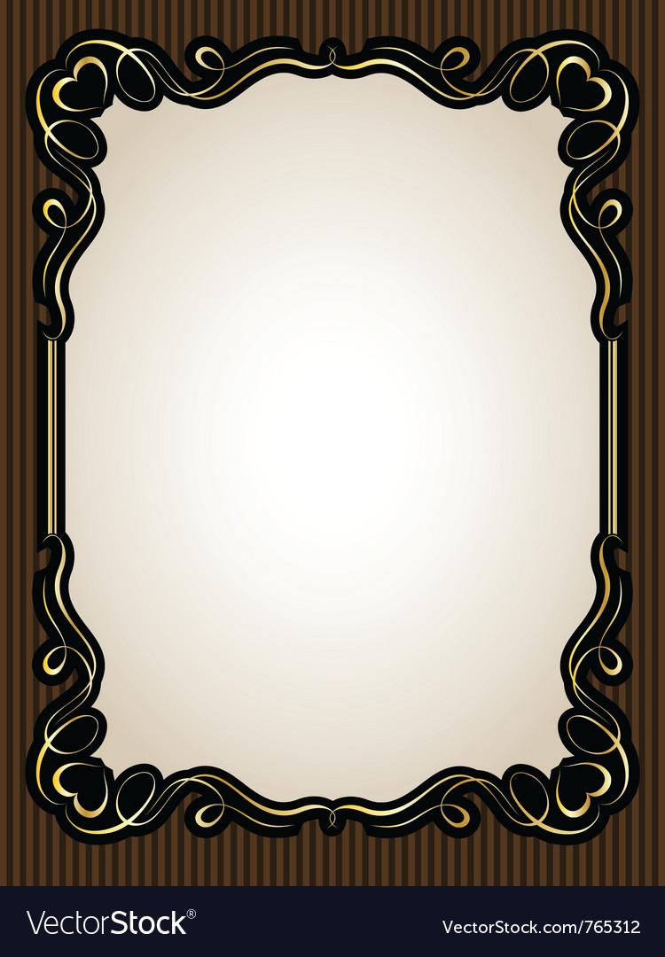 Vintage gold calligraphy heart frame pattern