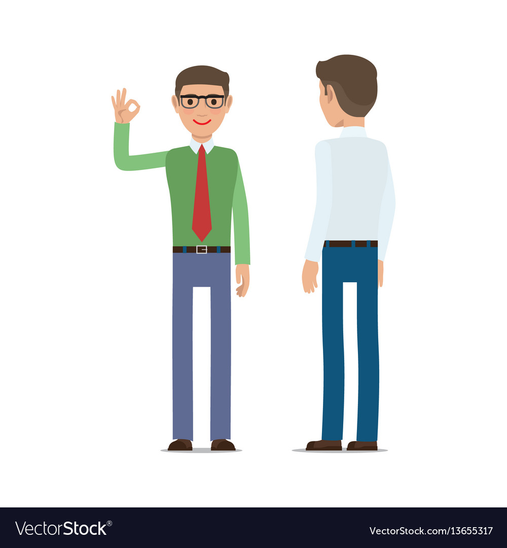 Businessmen showing ok gesture flat