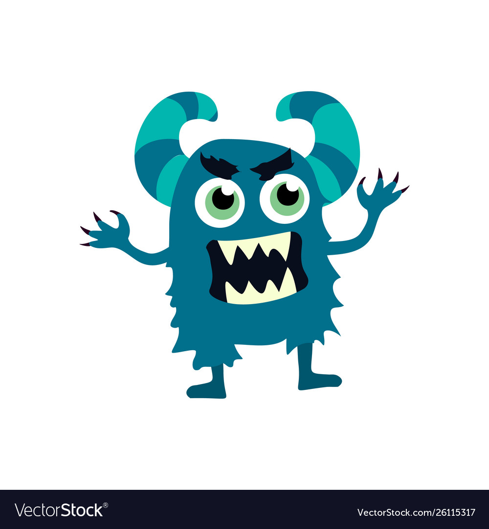 Cartoon flat monsters icon colorful kids toy cute