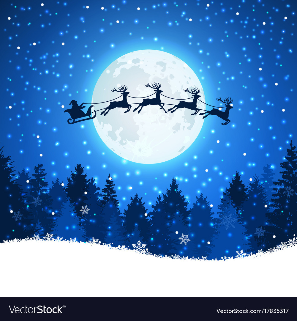 Christmas background with santa and deers flying