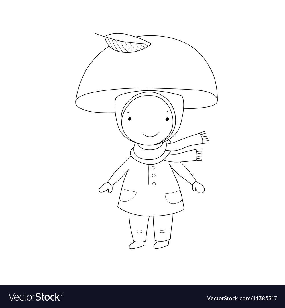 Cute little gnome mushroom for children design