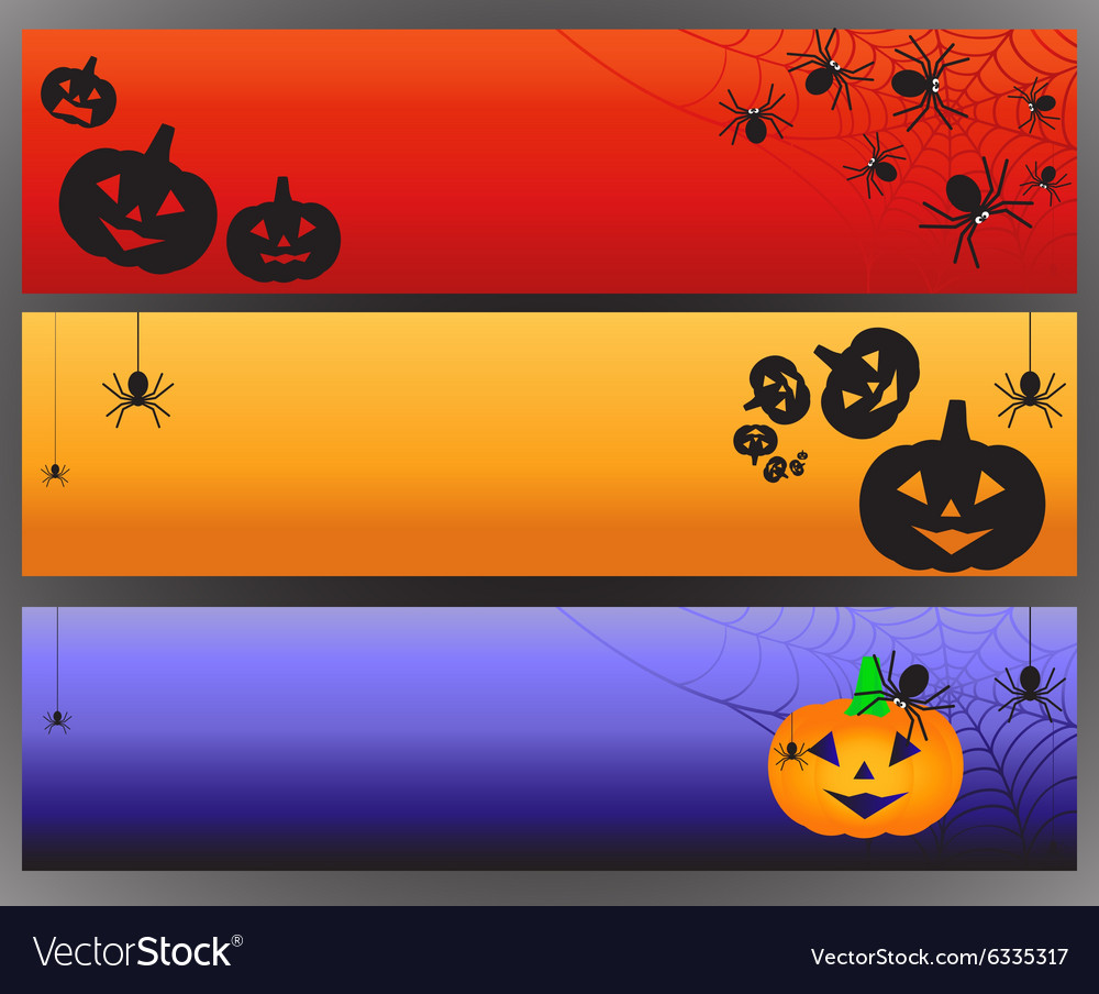 Halloween banners with spider and spiderweb