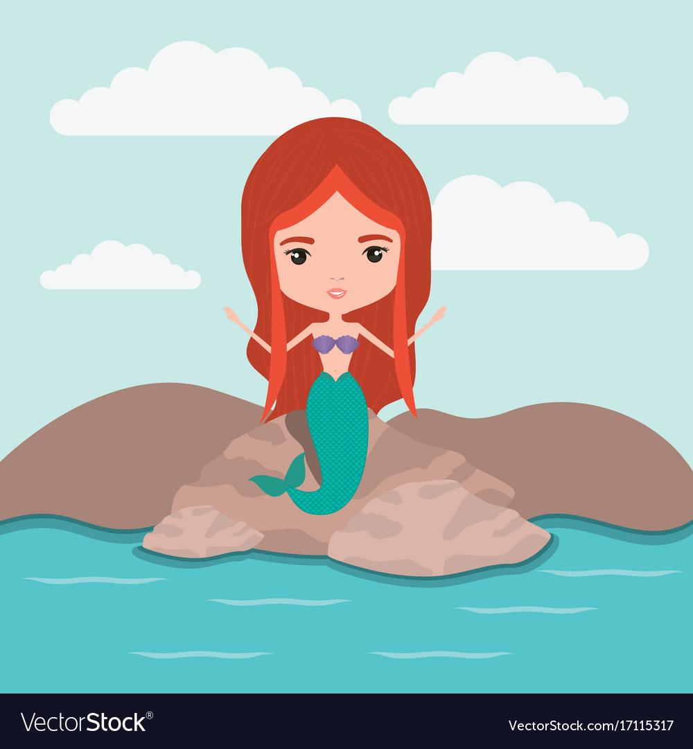 Mermaid fantastic character in a rock sea