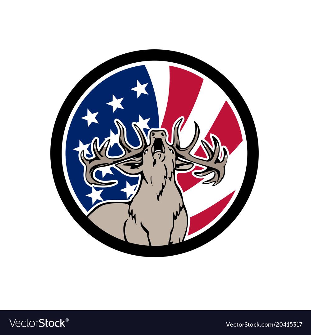 North american deer usa flag icon vector image