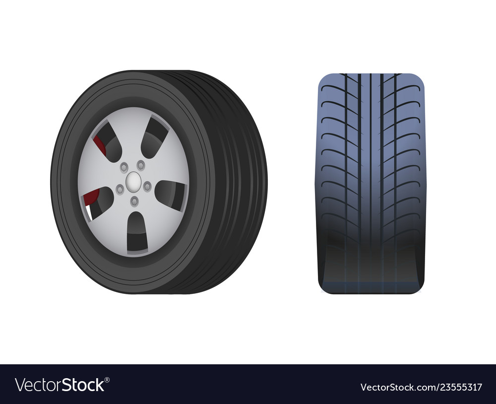 Rubber car wheel black tyre isolated icon