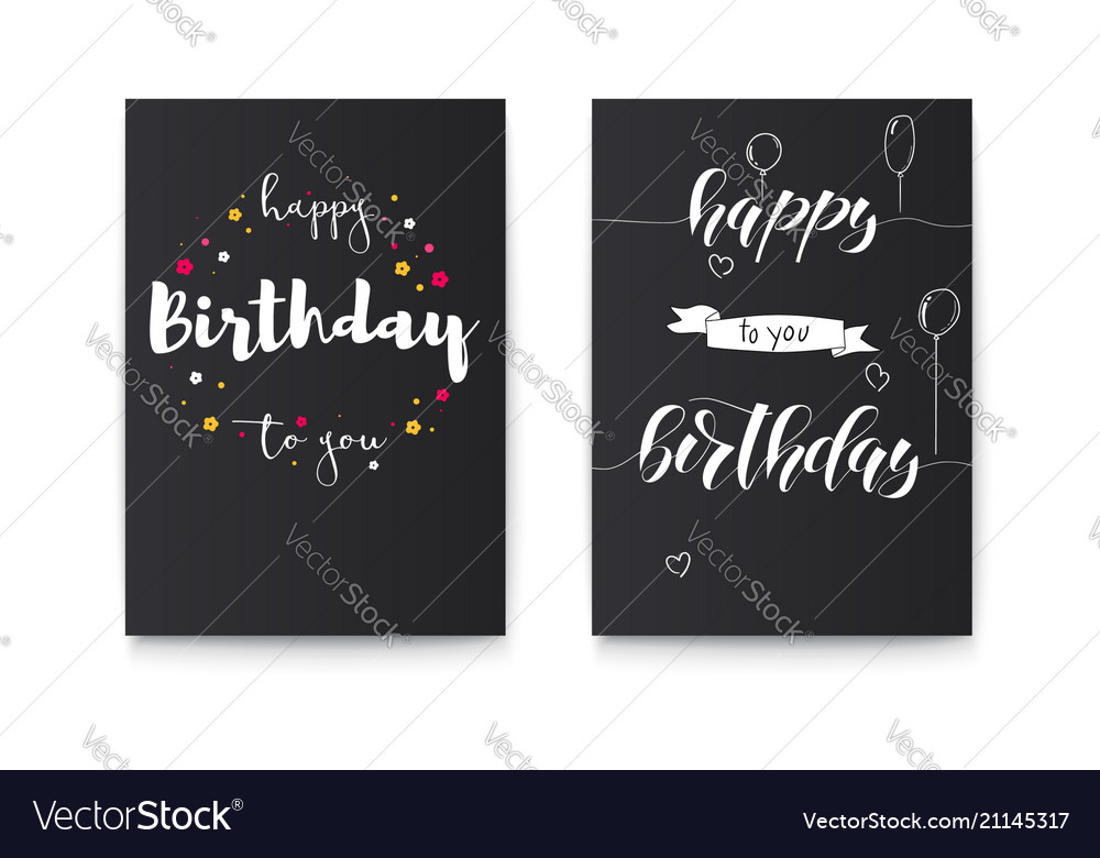 Set of happy birthday floral posters with