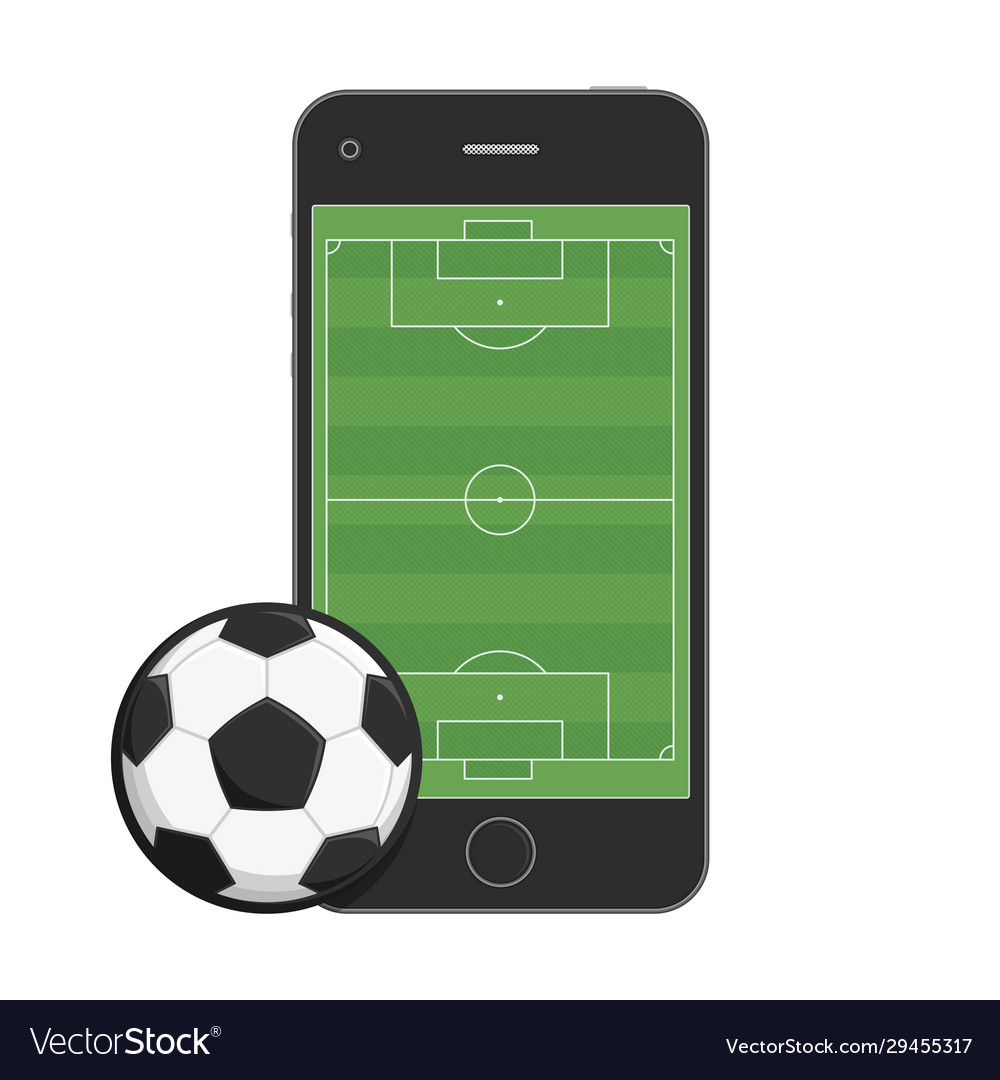 Smartphone soccer field and ball