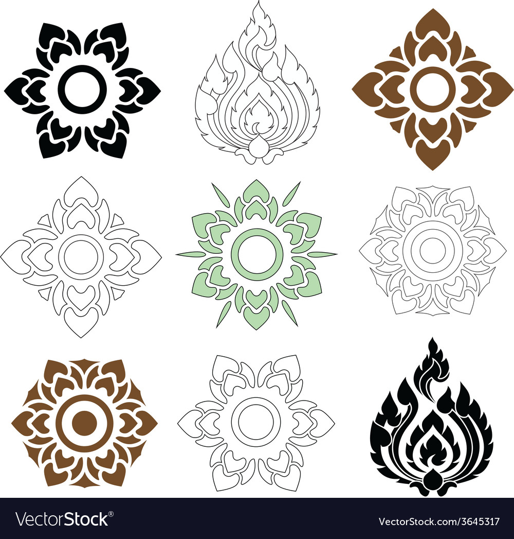 Thai pattern floral vector image