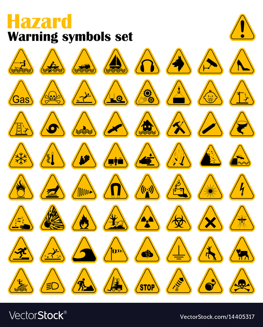 Warning hazard triangle signs set