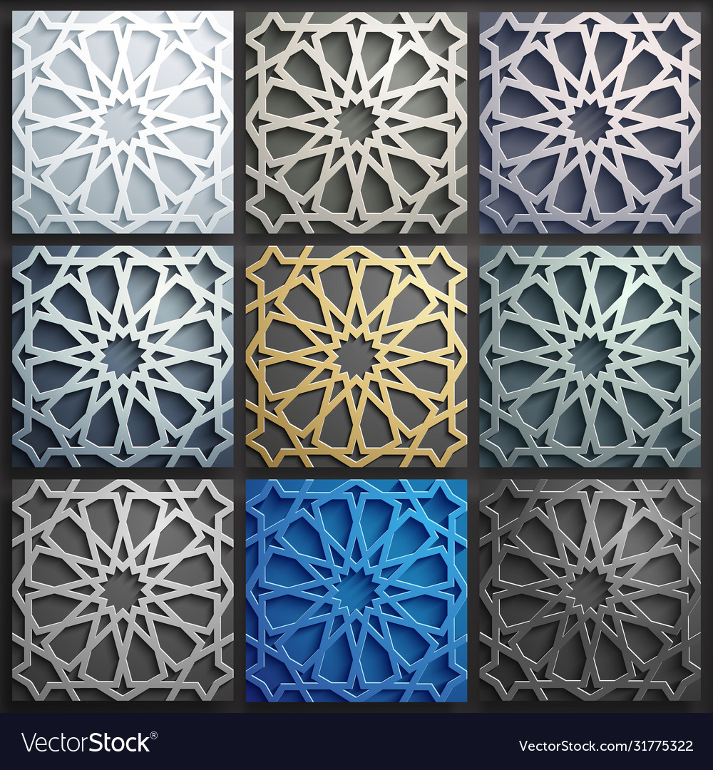 3d islamic pattern set abstract 3d