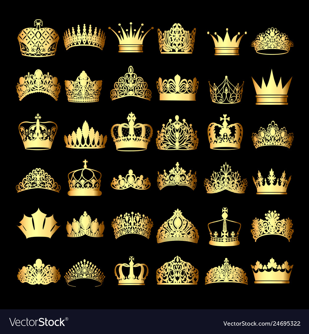 A set of gold crowns on a black background