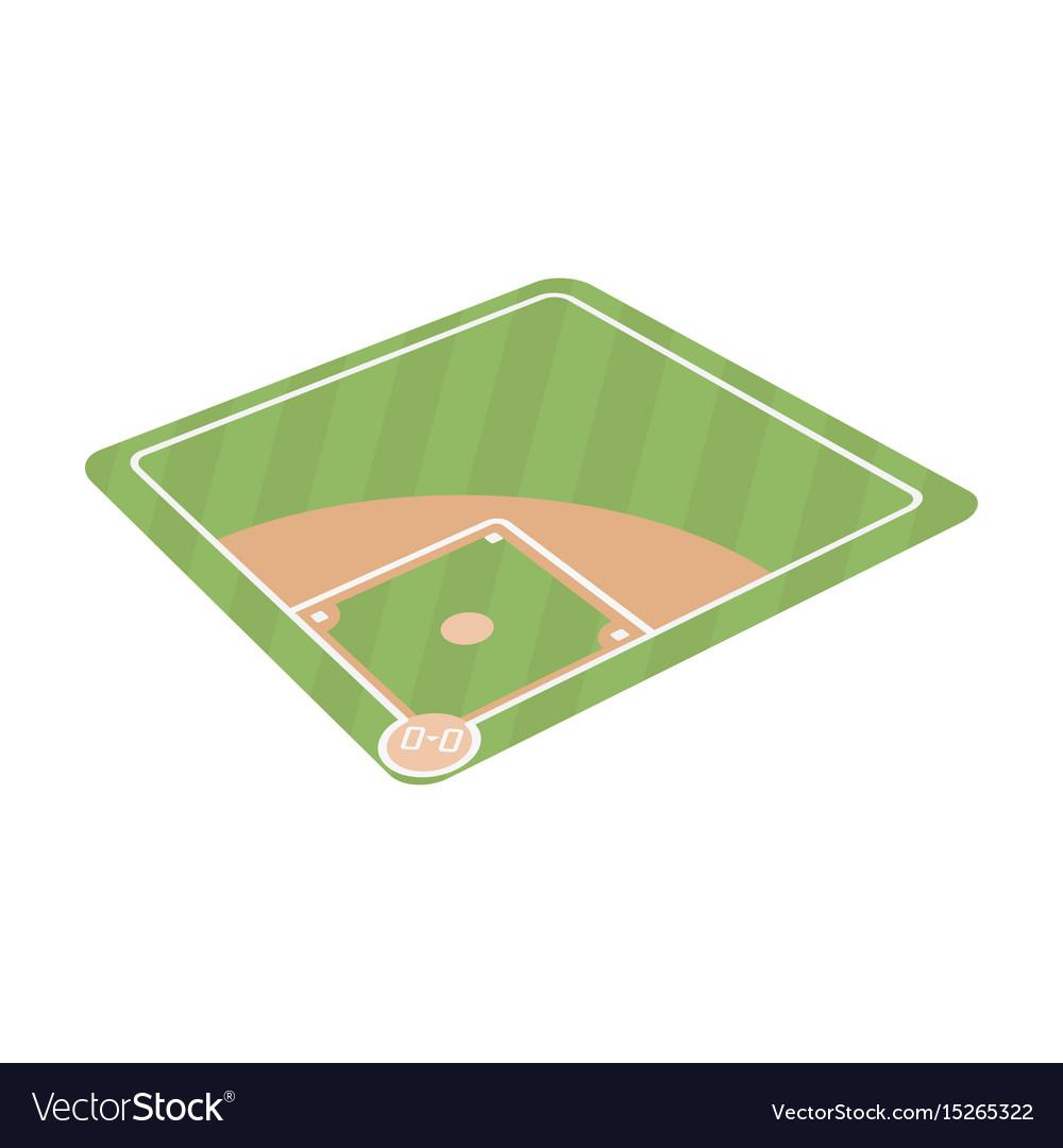 Baseball court baseball single icon in cartoon