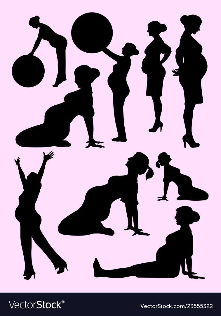 Beautiful pregnant woman silhouette