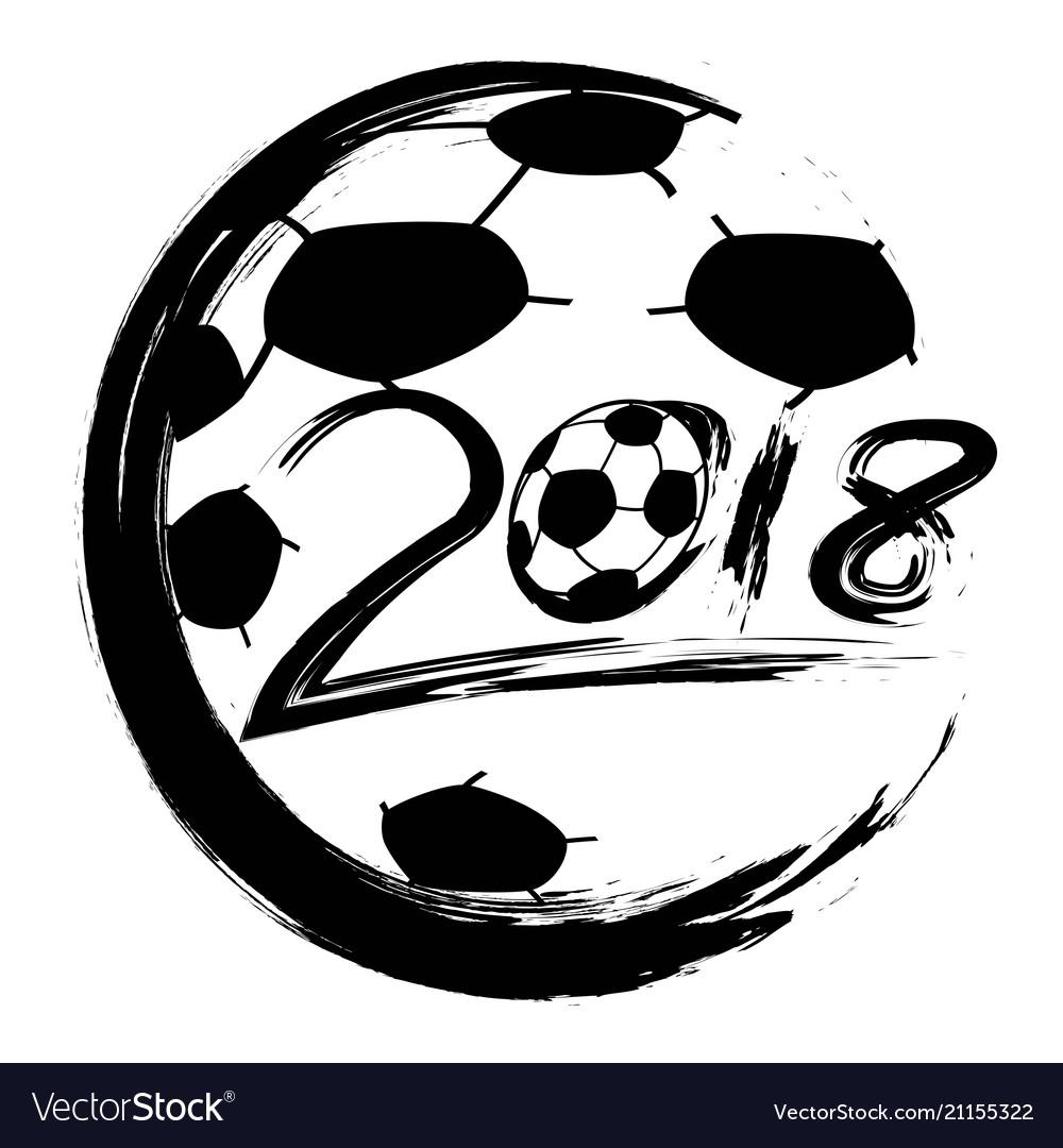 Black world cup 2018 soccer circle logo
