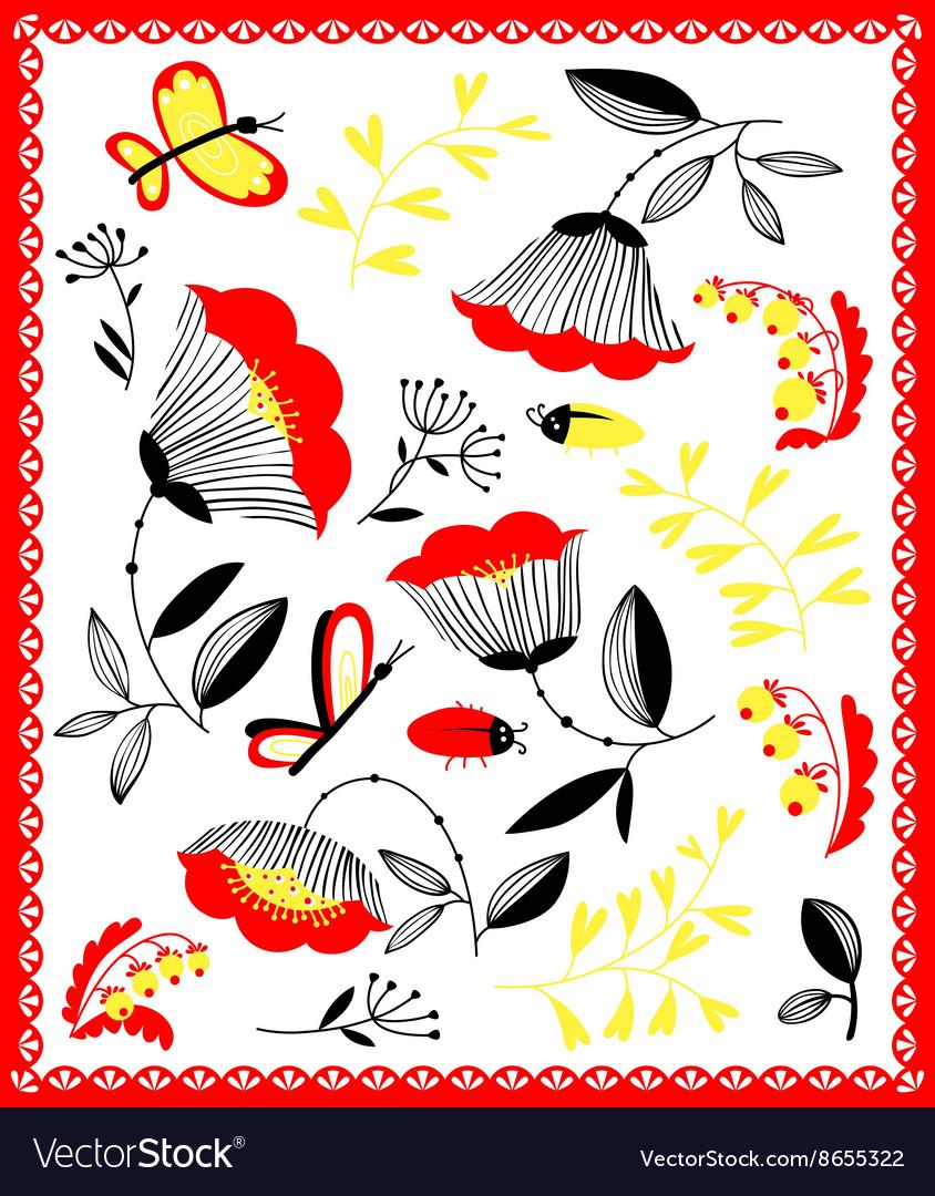 Cartoon floral decorative design elements set vector image
