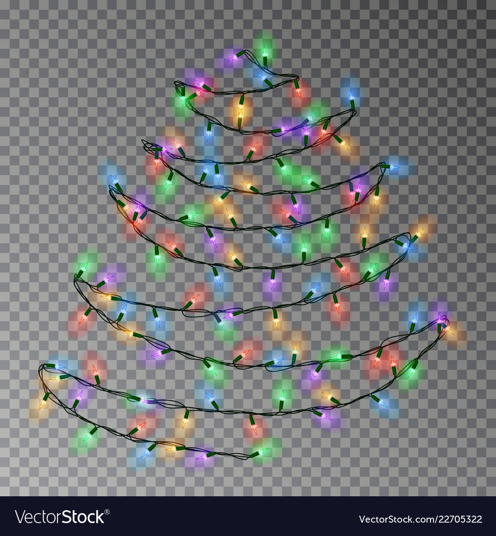 Christmas color tree of lights string hanging on w