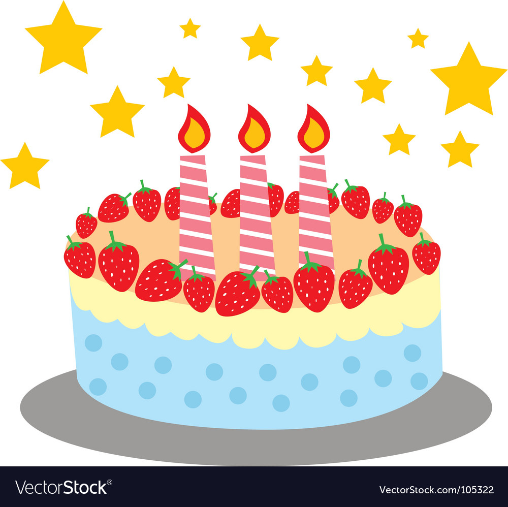Cute and sweet birthday cake Royalty Free Vector Image