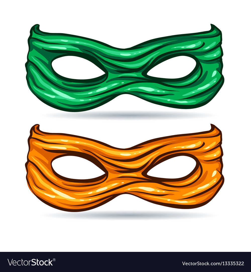 Green and yellow mask for face character super