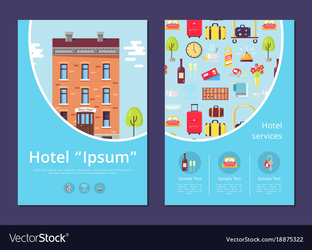 Hotel and services info internet page template Vector Image
