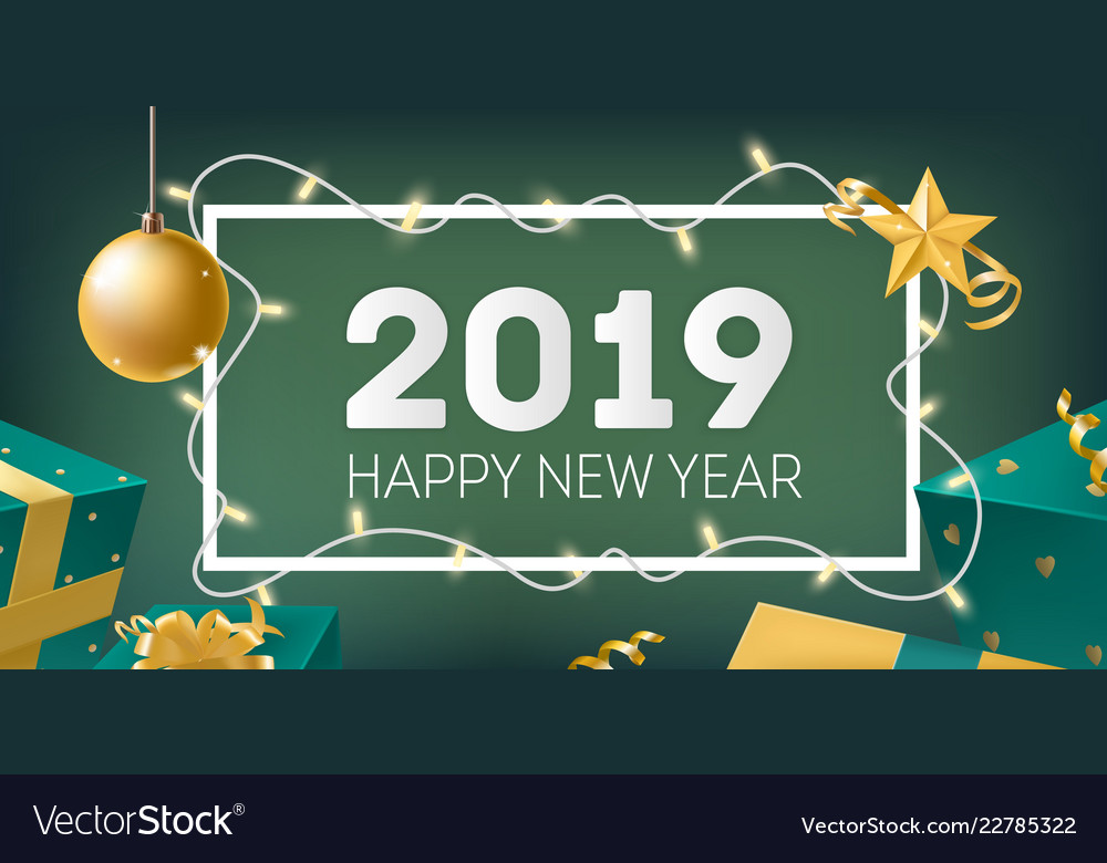 New year banner template with frame decorated by