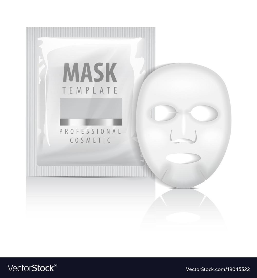 Realistic facial sheet mask and sachet blank