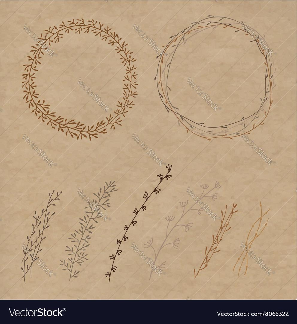 Set of decorative doodle wreaths