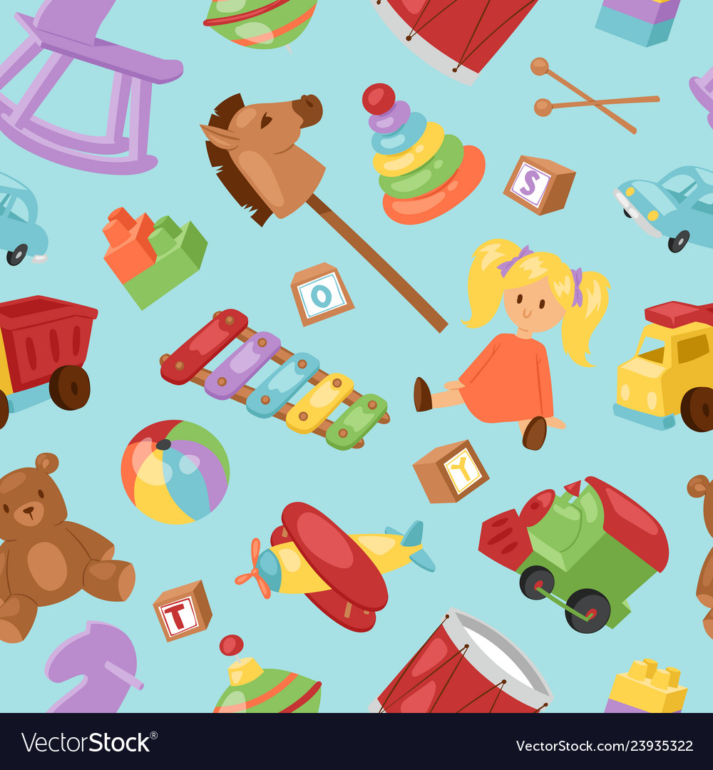 Set of different cartoon kids toys