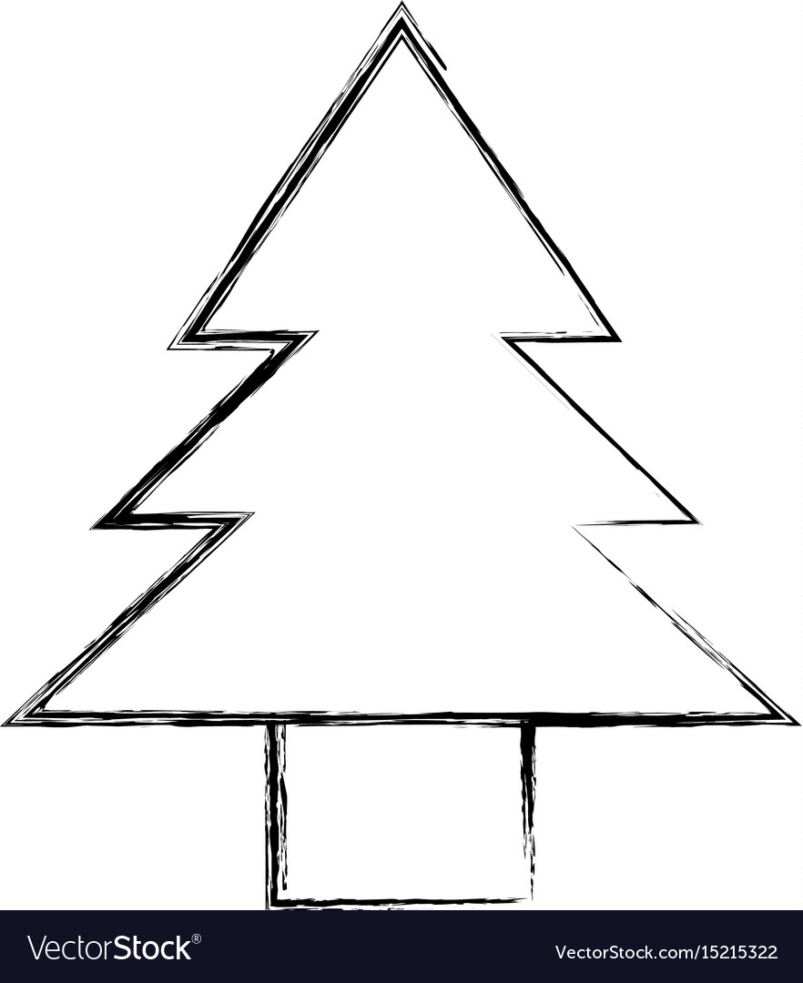 Sketch Draw Cute Tree Cartoon Vector Image