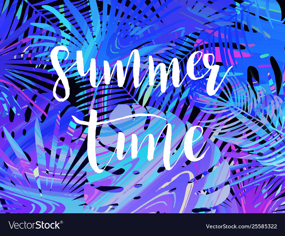 Summer tropical leaf background with exotic palm