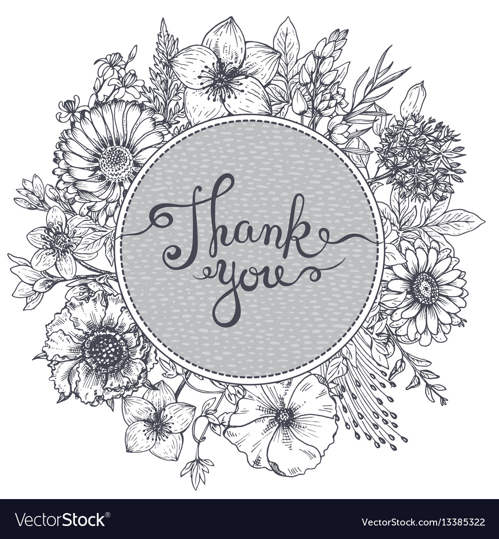 Thank you card with hand drawn flowers leaves and