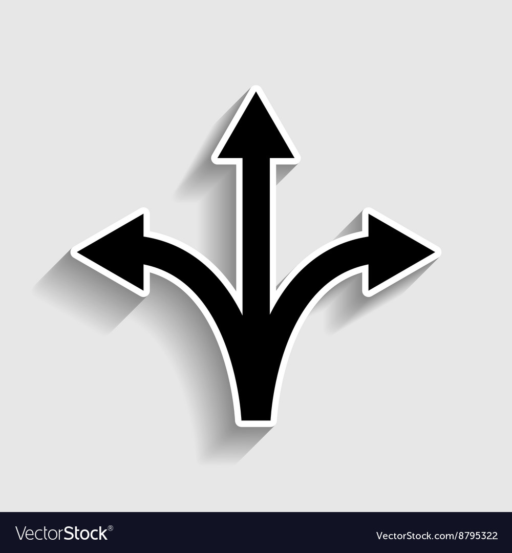 threeway direction arrow sign royalty free vector image