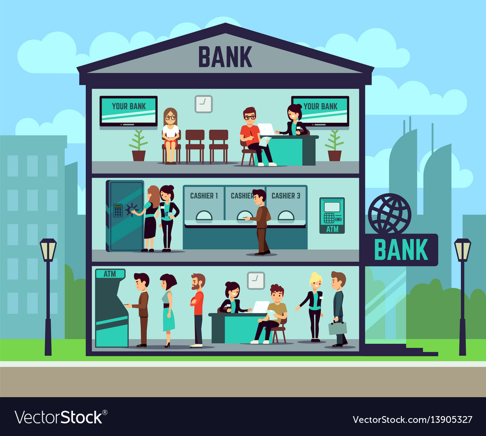Bank building with people and bank employees in
