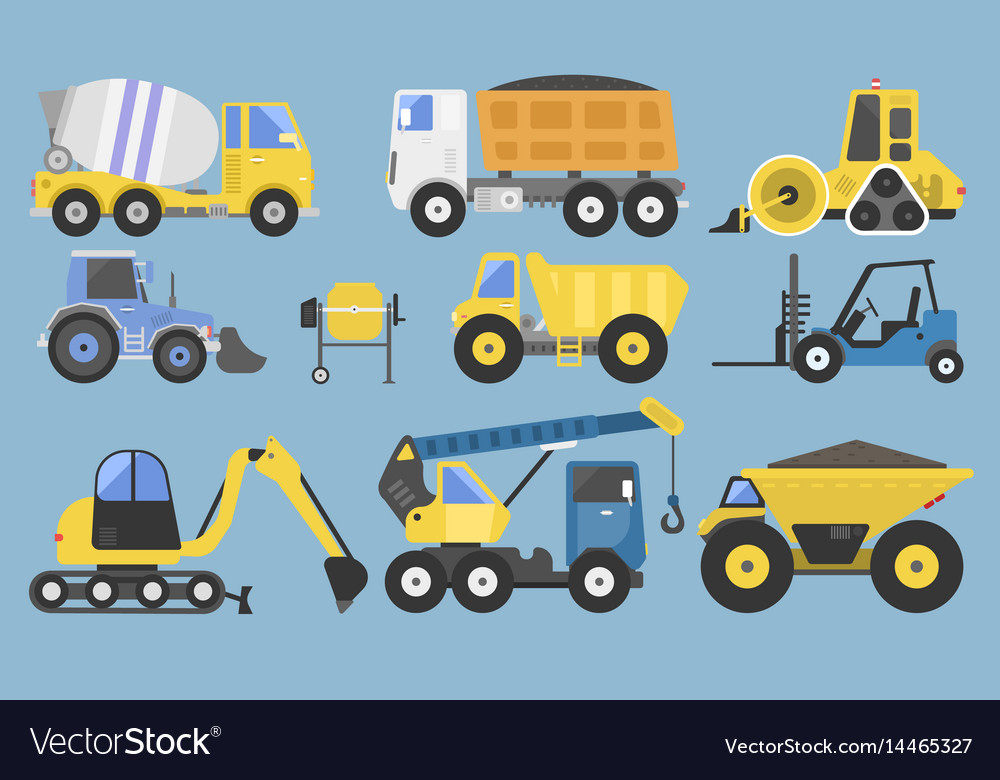 Construction equipment and machinery with trucks