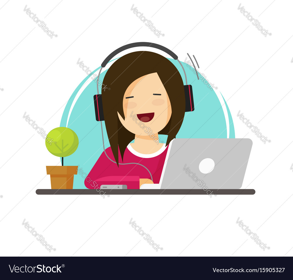 Happy woman working on computer