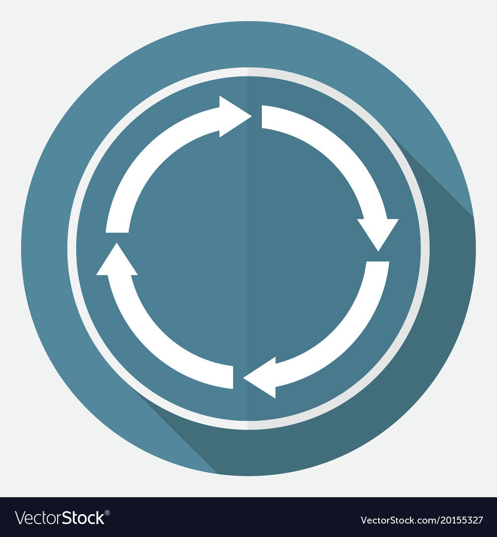 Icon abstract arrow on white circle with a long vector image