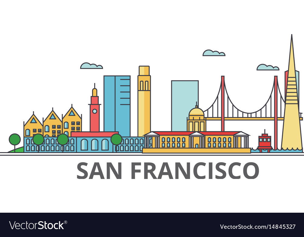 San francisco city skyline buildings streets vector image