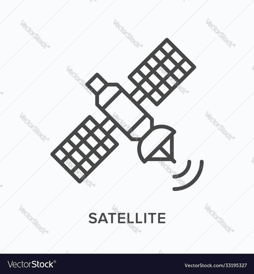Satellite flat line icon outline