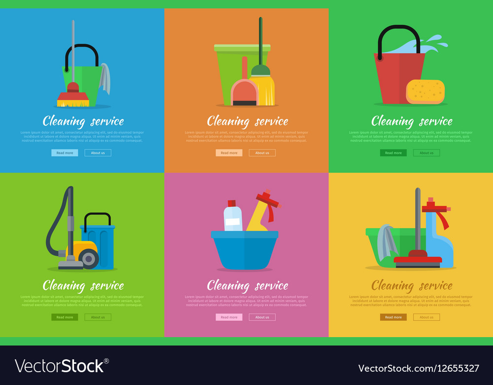 Set of Cleaning Service Flat Style Web Banners