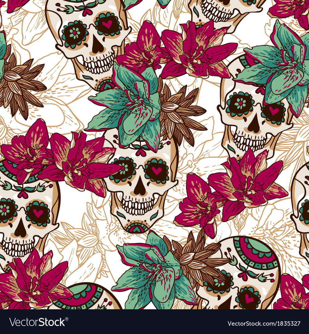 Skull Hearts and Flowers Seamless Background
