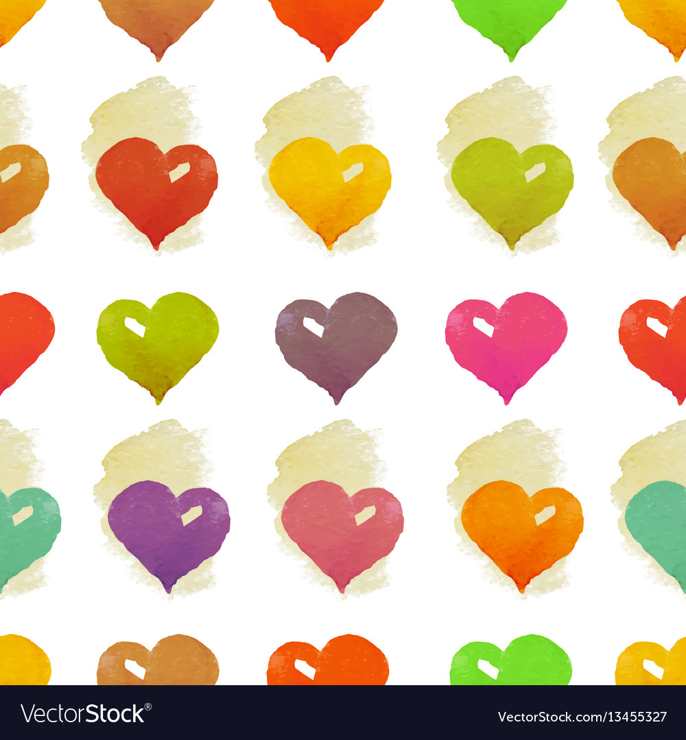 Watercolor hearts seamless pattern