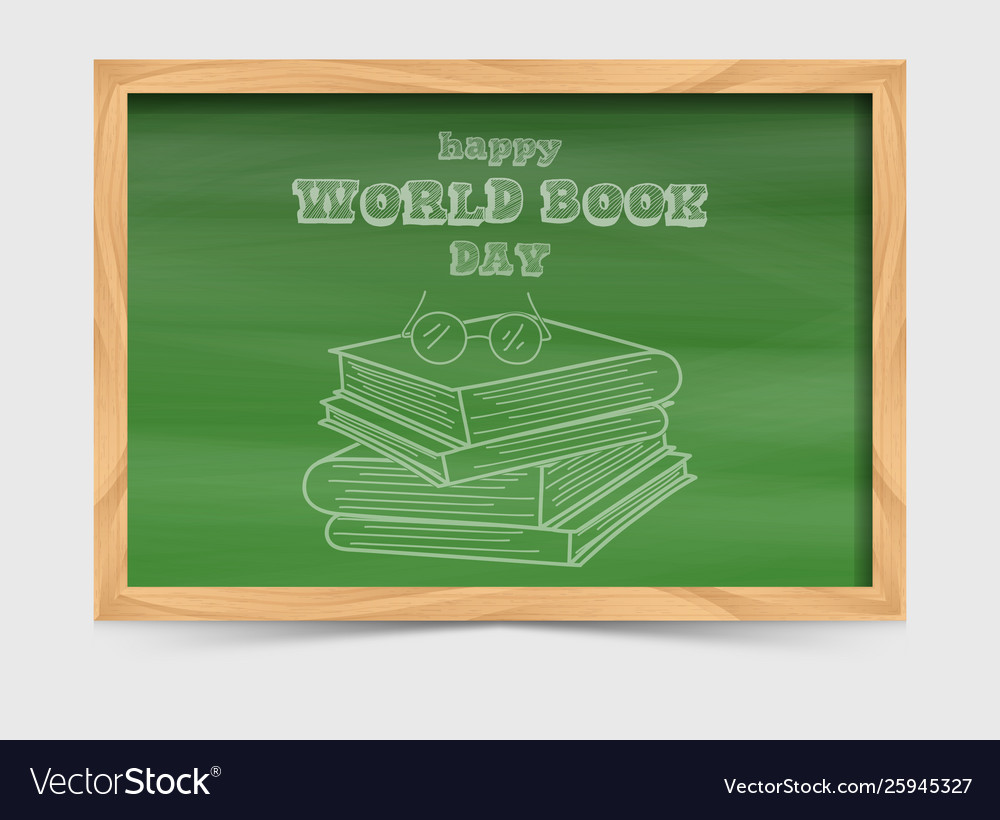 World book day concept with blackboard and stack